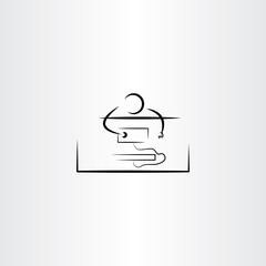 man work on pc computer icon vector