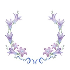 round frame with flowers, ribbons and bells. Watercolor painting. Hand drawing. Decorative element for greeting card, Invitation card.