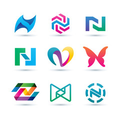 Set of Abstract Letter N Logo - Vibrant and Colorful Icons Logos
