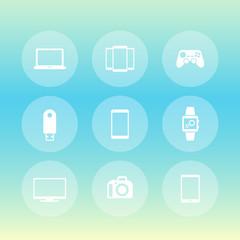 Gadgets icons set (laptop, tablet, tv, smart watch, dslr, modern devices), vector illustration