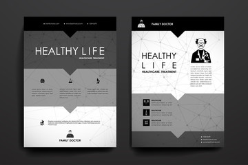 Set of brochure, poster design templates in healthcare style