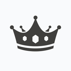 Crown icon. Royal throne leader sign.