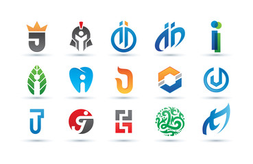 Set of Abstract Letter i Logo - Vibrant and Colorful Icons Logos