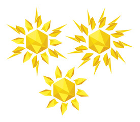 Origami sun on a white background