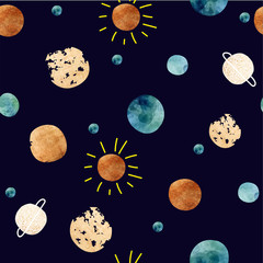 Seamless space pattern. The planets and the sun in the sky. Stylized background with space.