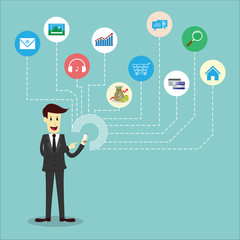 Businessman using mobile phone, Mobile infographic