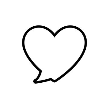 bubble heart communication message speak icon. Isolated and flat illustration. Vector graphic