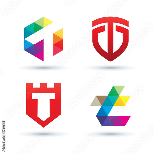 8c016749 Set of Abstract Letter T Logo - Vibrant and Colorful Icons Logos ...