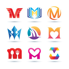 Set of Abstract Letter M Logo - Vibrant and Colorful Icons Logos