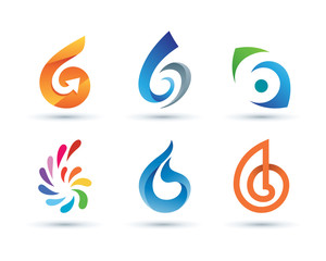 Set of Abstract Number 6 Logo - Vibrant and Colorful Icons Logos