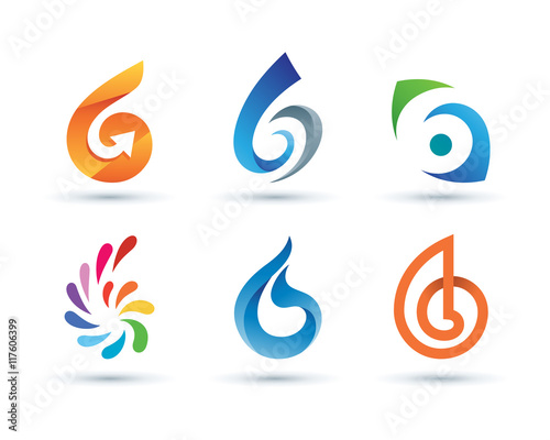 quot set of abstract number 6 logo vibrant and colorful icons logos quot stock image and royalty free