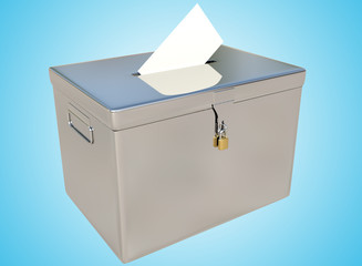 3D rendering metal ballot boxes and vote card on a blue gradient