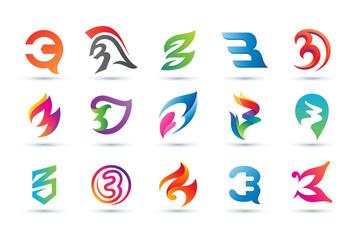 Set of Abstract Number 3 Logo - Vibrant and Colorful Icons Logos