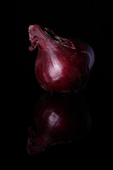 Onion is on a black background