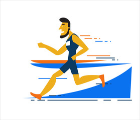 Professional man running on the running track. flat character design. vector