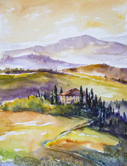 Watercolor illustration of rural Tuscany landscape- fields ,trees,farm and mountains in background.