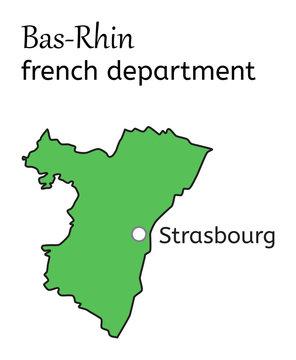 Bas-Rhin french department map