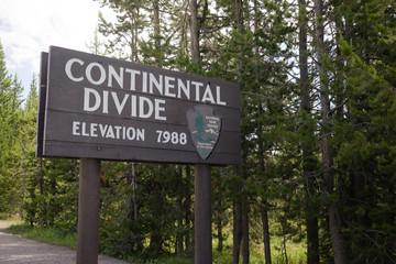 Continental Divide Sign Marker NPS Wyoming Elevation 7988