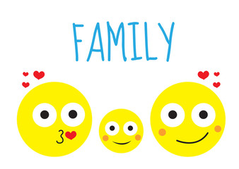 Happy family round smiles, mother, father and child. Vector illustration