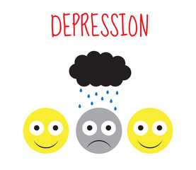 Smiley vector, depression, sadness, emotions. Vector illustration