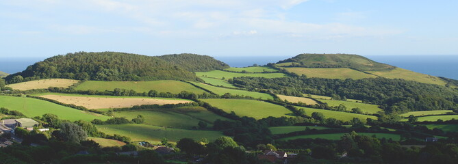 Beautiful farmland landscape in Marshwood Vale near Morcombelake in Dorset, England Wall mural