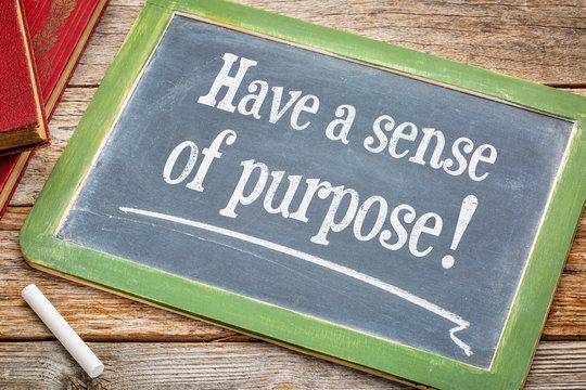Have a sense of purpose