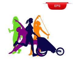 fitness concept, running woman with stroller, icon, vector illustration