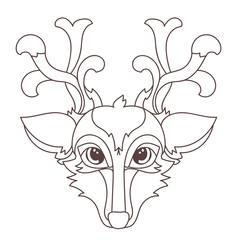 Hand drawn doodle outline deer head