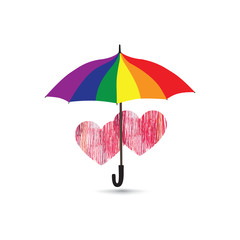 Love heart sign over umbrella in LGBT colors. Pencil draweing sketch hearts