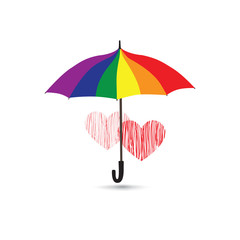 Love heart sign over umbrella in LGBT colors. Valentine's day greeting card with two hearts