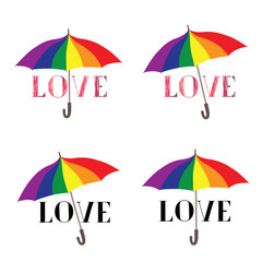 Love lettering sign over umbrella in LGBT colors. Valentine's day greeting card with typed  hand drawn sketch LOVE