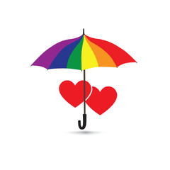 Love heart sign over umbrella in LGBT colors. Valentine's day greting card with two hearts