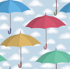 Umbrella seamless pattern. Cloudy sky pattern. Rainy fall weather ornamental background