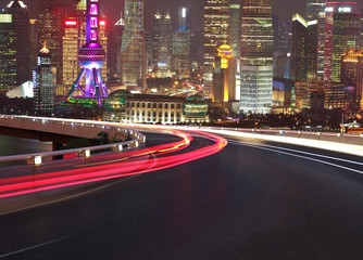 Empty road floor with bird-eye view at Shanghai bund Skyline Wall mural
