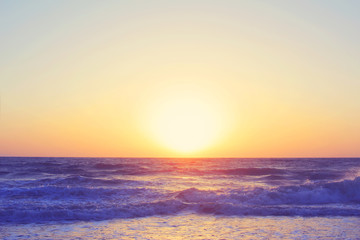 Wall Mural - Abstract ocean seascape waves evening sunset sunrise vintage filter