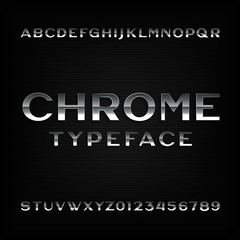 Chrome alphabet font. Metallic effect letters and numbers. Vector typeface for your design.