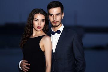 Elegant couple, evening outdoor