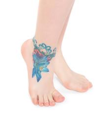 Female legs barefoot, isolated on white