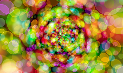 twirl bokeh gradient abstract colorful for Christmas on black ba