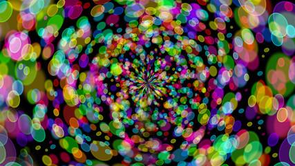 twirl bokeh gradient abstract colorful for Christmas on black ba