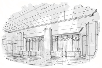 sketch stripes reception, black and white interior design.
