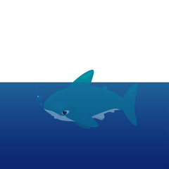 Vector cartoon - Hammerhead Shark  (Sphyrnidae)