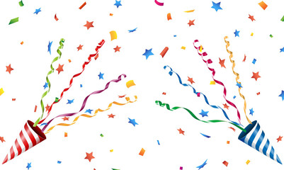 Exploding party popper with confetti and streamer Vector