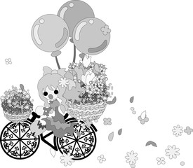 A girl pedals the bicycle with the flower basket, and flowers are dancing.