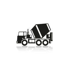 Truck concrete mixer. Vector icon.