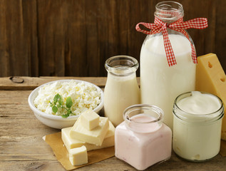 Printed roller blinds Dairy products organic dairy products - milk, sour cream, cottage cheese, yogurt