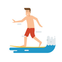 Surfer Man Riding on Wave