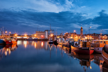 Port in Wladyslawowo Town at Night in Poland