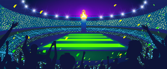 Colorful night stadium, People celebrate the flame, Vector illustration.