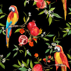 Printed roller blinds Parrot Tropical Flowers, Pomegranates and Parrot Birds Background